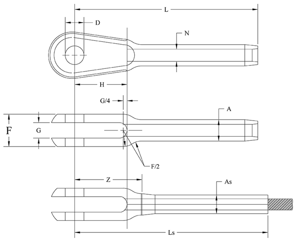 Fork End Fitting Drawing